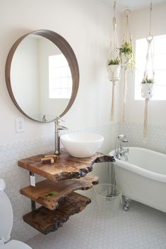 Mirror over log wall and backsplash to suit the shower - Home And Garden Bad Inspiration, Bathroom Inspiration, Bathroom Ideas, Pallet Bathroom, Wooden Bathroom, Rustic Bathrooms, Dream Bathrooms, Log Wall, Live Edge Furniture