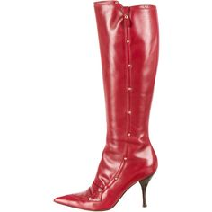 Pre-owned Sergio Rossi Knee High Boots (€260) ❤ liked on Polyvore featuring shoes, boots, red, pointy toe boots, pointed toe boots, red boots, stacked heel boots and studded knee high boots