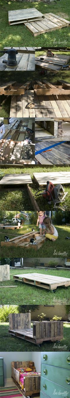 Cama DIY con palés - LoriDanelle.com - DIY Pallet Bed