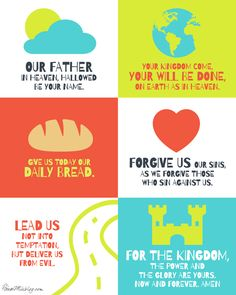 The Lords prayer for children free printable poster, laminate, cut into puzzle pieces.