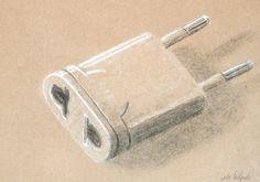 João Delgado. Carvão e pastel branco s/ papel kraft, 29,7 x 42 cm