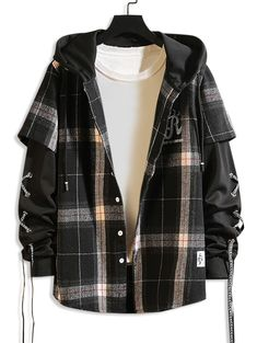 Letter Plaid Pattern Hooded Jacket - Black M Edgy Outfits, Teen Fashion Outfits, Grunge Outfits, Cute Casual Outfits, Jugend Mode Outfits, Style Masculin, Stylish Hoodies, Mode Kpop, Vetement Fashion