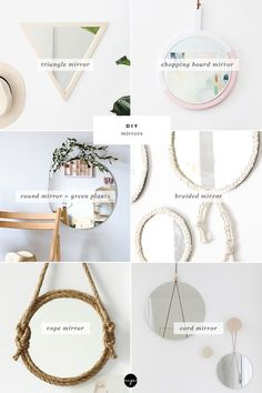 DIY: Gorgeous mirrors for your wall - Woven wall art Macrame Mirror, Diy Mirror, Wall Mirror, Do It Yourself Regal, Diy Wanddekorationen, Geometric Shelves, Diy Inspiration, Diy Interior, Round Mirrors