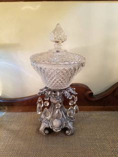 Vintage Pressed Glass Covered Tall Compote with Crystals - Metal Base - Hollywood Regency - Glam Compote - Flirty Flint by HeatherhouseDesigns on Etsy