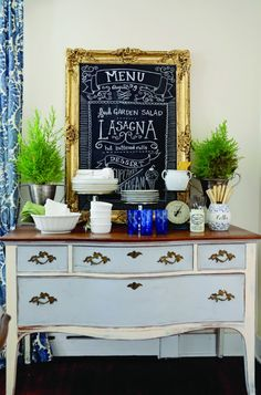 Using old dresser as buffet table