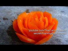 Rose Carving from Carrot,curved shape,แกะสลัก กุหลาบ ทรงงุ้ม จากแครอท,Le...
