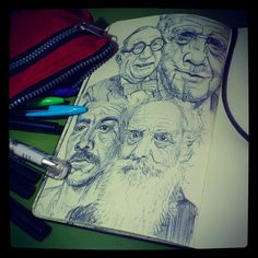 Randomly chosen faces - Bic Cristal ballpoint pen in Moleskine.