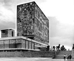 biblioteca central de ciudad universitaria, mexico city. by architect/painter juan o'gorman image cortesy of the archivos de arquitectos mexicanos, unam
