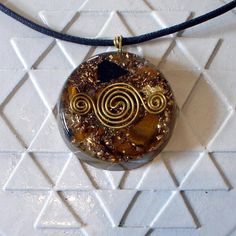 Tiger Eye Orange Calcite Orgonite Pendant