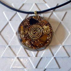 Tiger Eye Orange Calcite Orgonite Pendant