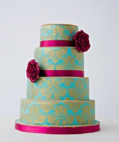 5. #Pretty in Pink and Teal... - 6 #Amazing #Wedding #Cakes Too Pretty to Eat! → Wedding #Colors