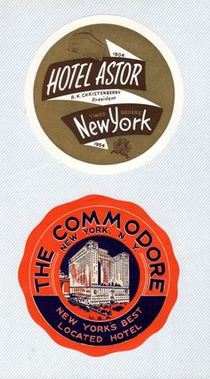 1950s New York City Commodore & Astor Hotel Baggage Luggage Labels Stickers Tags | eBay