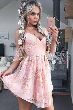 A-Line Dresses,Spaghetti Straps Dresses,Short Homecoming Dresses,Pink Homecoming Dresses,Appliques Homecoming Dresses,Homecoming Dresses 2017