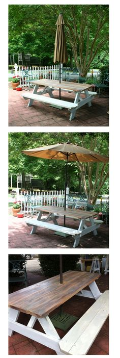 Needed a patio table on a budget. I thought the picnic table turned out great! $88. table from Lowes, 3 different colors of stain, 2 colors of paint and we now have a farm house picnic table.