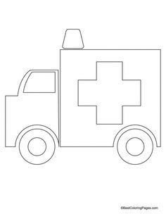 Ambulance craft made by gluing pre-cut shapes of paper