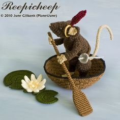 Crocheted Reepicheep! Omigoodness so awesome. This is exactly what I want to make for Rachel, except knit and with a pattern. For now, I can sigh wistfully at this one.