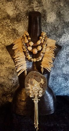 Septarian Statement Necklace Set Wild Exotic OOAK Wearable Art Coral Coconut Ethnic Necklace Wow Factor Jawdrop Jewelry Couture Runway Diva