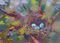 Bird's Nest with Eggs 5x7 Original Pastel Painting Karen Margulis