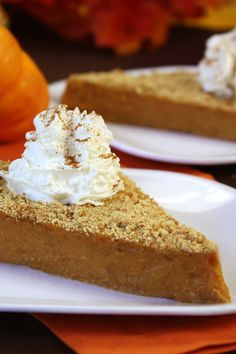 Upside-Down Pumpkin Pie! Put a fun spin on traditional holiday flavors... turn it on its head! Just 144 calories!