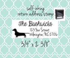"Custom Return Address Stamp - for save the dates, invitations, invites, thank you cards, holiday cards -  3/4"" x 2 3/8"" dachshund dachshunds"