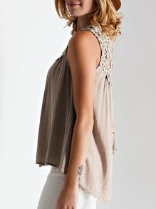 Light Coffee Sleeveless With Crochet Lace Tank Top -SheIn(Sheinside)