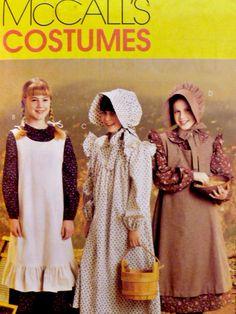 McCalls 9424 Pattern Girls Frontier Pioneer Costume Dress Pinafore Bonnet Uncut Size 14 p3z