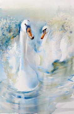 Watercolour Swans ~Kaye Parmenter