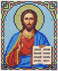 Christ Pantocrator orthodox icon beaded embroidery stitching beading kit DIY - Religious & Cultural