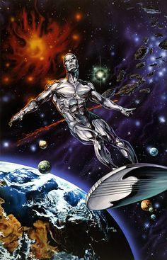 Silver Surfer by Joe Jusko #JoeJusko  #SilverSurfer #NorrinRadd #TheDefenders #GalactusHerald