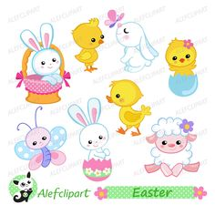 Easter clipart, Easter Bunny and Chicks Clipart. Digital clipart . Instant Download by Alefclipart on Etsy https://www.etsy.com/uk/listing/232107890/easter-clipart-easter-bunny-and-chicks