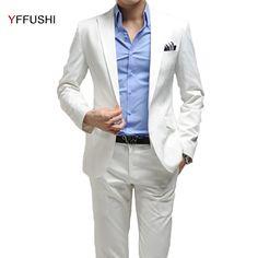 YFFUSHI 2017 Men Suit 2 Pieces One Button Homme Mariage White Party Dress Best Man's Blazer Wedding Suits For Men Plus Size 6XL #Affiliate