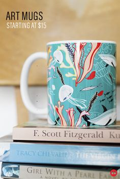 Artisanal coffee deserves an artisanal mug. Find thousands of beautiful artist-designed mugs under $15. The perfect gift for java addicts. #coffeemug #giftideas #nautical #coffee #mugs