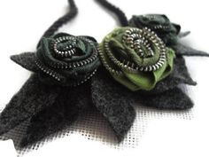 Green and Grey Zipper And Felt Statement Necklace by handcraftusa