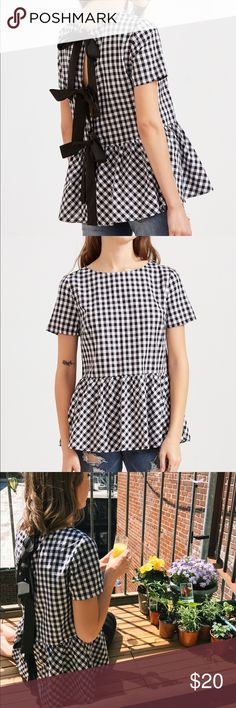 """SheIn Checkered Bow Back Peplum Top Excellent condition. Worn once. Adorable bows in the back! 😍 18"""" across chest, 26"""" long. SheIn Tops Blouses"""