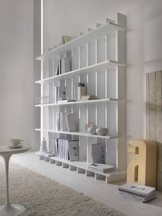 Open wooden #bookcase BABELE by MY home collection #minimal #white @MY home collection