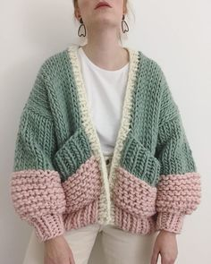 Autumn Patchwork Hit Color Knitting Sweater For Women Open Stitch Lantern Sleeve Casual Oversize Sweaters Female 2019 Fashion Crochet Clothes, Diy Clothes, Knit Fashion, Fashion Outfits, Punk Fashion, Lolita Fashion, Mode Ootd, Mode Inspiration, Pulls