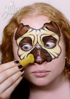 Pug Dog Face Painting - Art & Photo: Susanne Daoud from www.JuicyBodyArt.com, Model: Helen Mahar