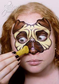 Pug Dog Face Painting - Art & Photo: Susanne Daoud from www.JuicyBodyArt.com, Model: Helen Mahar