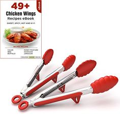 Kitchen Tongs With Built-In Stand And Cooking Utensils, Set Of 2, Stainless Steel, Silicone Grip, Plus Chicken Wing Recipe Ebook, 2015 Amazon Top Rated Flatware #Kitchen