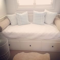 Hemnes Daybed from ikea with baby blue country Road cushions. Baby girls room