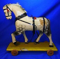 Vintage German Wood Carved Pull Toy Horse