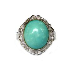 Clark and Coombs, Vintage Ring, Sterling Silver, Turquoise Glass, Ladies Jewelry, Size 4.5 by zephyrvintage on Etsy