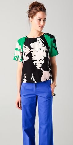 tibi outfit - i have blue crop skinnies and i like the idea of the pattern bold print top to go with it in juxtaposed colors.