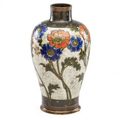 ERNEST CHAPLET (1835-1909); ALEXANDRE DAMMOUSE (1850-1903); HAVILAND & CO. Large Enameled stoneware vase with flowers, France, circa 1895. Signed M C with A LA PAIX paper label