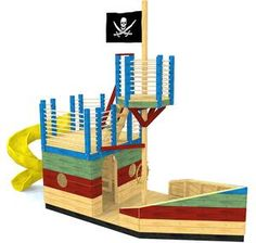 Short on yard space but abundant in adventure? Look no further than this compact pirate ship playhouse plan! 2 stories, and interior space make this boat a blast!