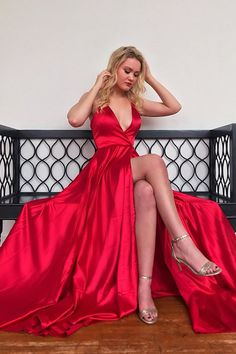 A Line V Neck High Slit Red Satin Long Prom Dresses V Neck Red Formal Graduation Evening Dresses - A Line V Neck High Slit Red Satin Long Prom Dresses V Neck Red Formal Graduation Evening Dresses Source by shinypartydress - A Line Evening Dress, Evening Dresses, Quinceanera Dresses, Homecoming Dresses, Graduation Dresses, Hoco Dresses, Formal Dresses, Slit Dress, Dress Red