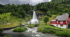 Steinsdalsfossen Waterfall by sorstrommen trees sky red water nature fresh travel clouds cloudy house summer building green norway waterfall l Red Water, Beautiful Waterfalls, Photos Of The Week, Landscape Photography, Travel Photography, Tourism, Most Beautiful, Places To Visit, Around The Worlds