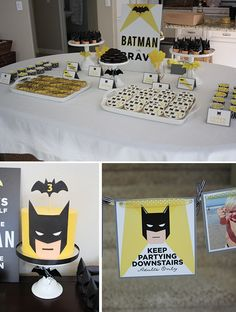 Modern Batman Birthday Party {with DIY Gotham City!} IDEA: To prevent young guests from going upstairs Batman Party, Batman Birthday, Superhero Birthday Party, 4th Birthday Parties, Boy Birthday, Birthday Ideas, Lego Batman, Batman Cakes, Barbie Birthday