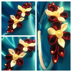 Maroon and white kanzashi flower headband.