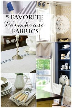 5 Favorite Farmhouse Fabrics | Ideas and examples for adding farmhouse style to your decor with fabric. Budget friendly options included!